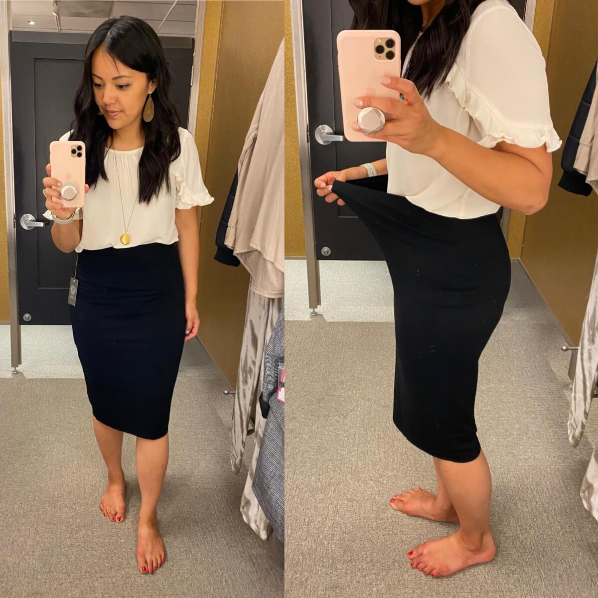 work outfit: white ruffle blouse + black pencil skirt + gold earrings + gold pendant necklace