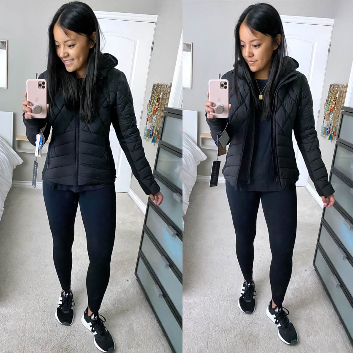 NSale Casual Athleisure Outfit: navy sweatshirt + black leggings + black sneakers + black puffer jacket + gold initial pendant necklace