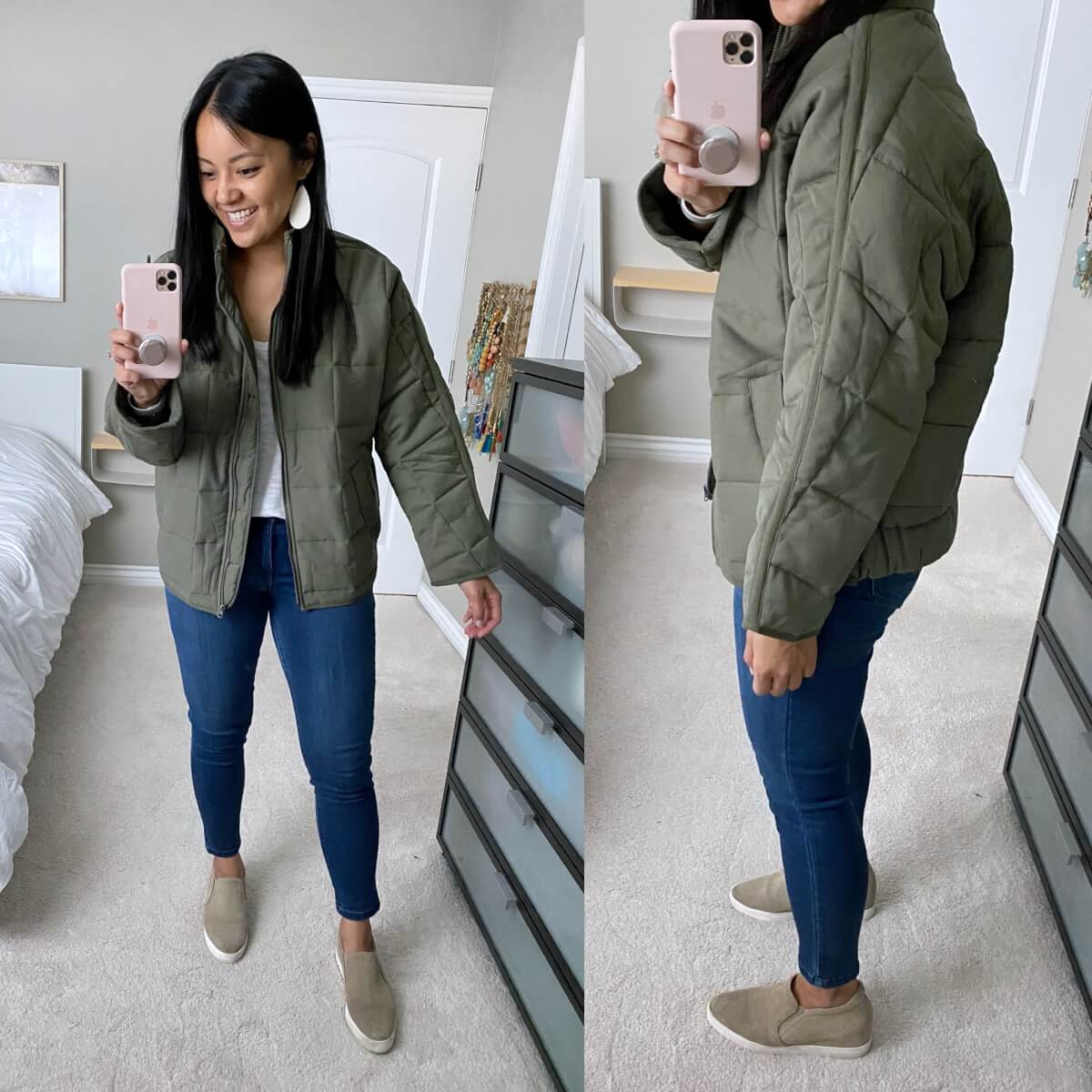 Casual Outfit NSale: white tee + blue skinny jeans + olive jacket + nude slip-on sneakers