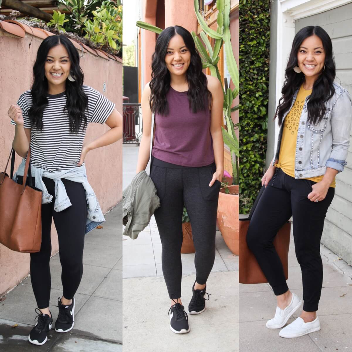 Casual and athleisure outfits: striped black and white tee + black leggings + denim jacket + black sneakers + tan tote, purple tank + gray joggers, yellow graphic tee + black joggers + white slip-on shoes + denim jacket