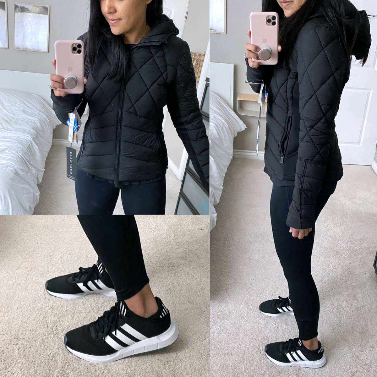 NSale Casual Athleisure Outfit: navy sweatshirt + black leggings + black sneakers + black puffer jacket + gold initial pendant necklace Side and closeup