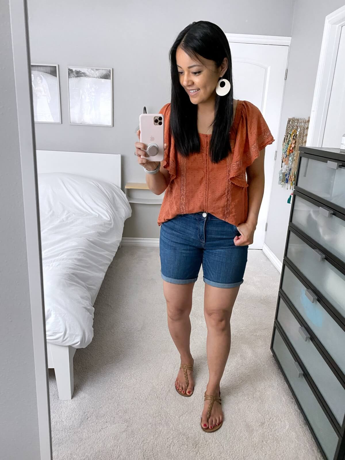 Elevated Casual Outfit: Old Navy crochet top + denim shorts + white earrings + leather t-strap sandals