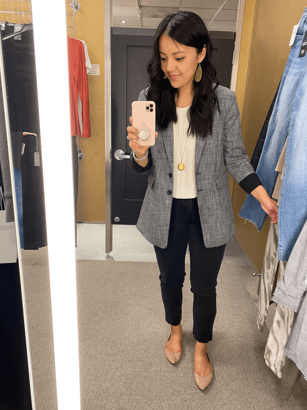 Nordstrom reviews white blouse + vince camuto tweed jacket + black straight leg jeans + gold earrings + pendant necklace + nude flats