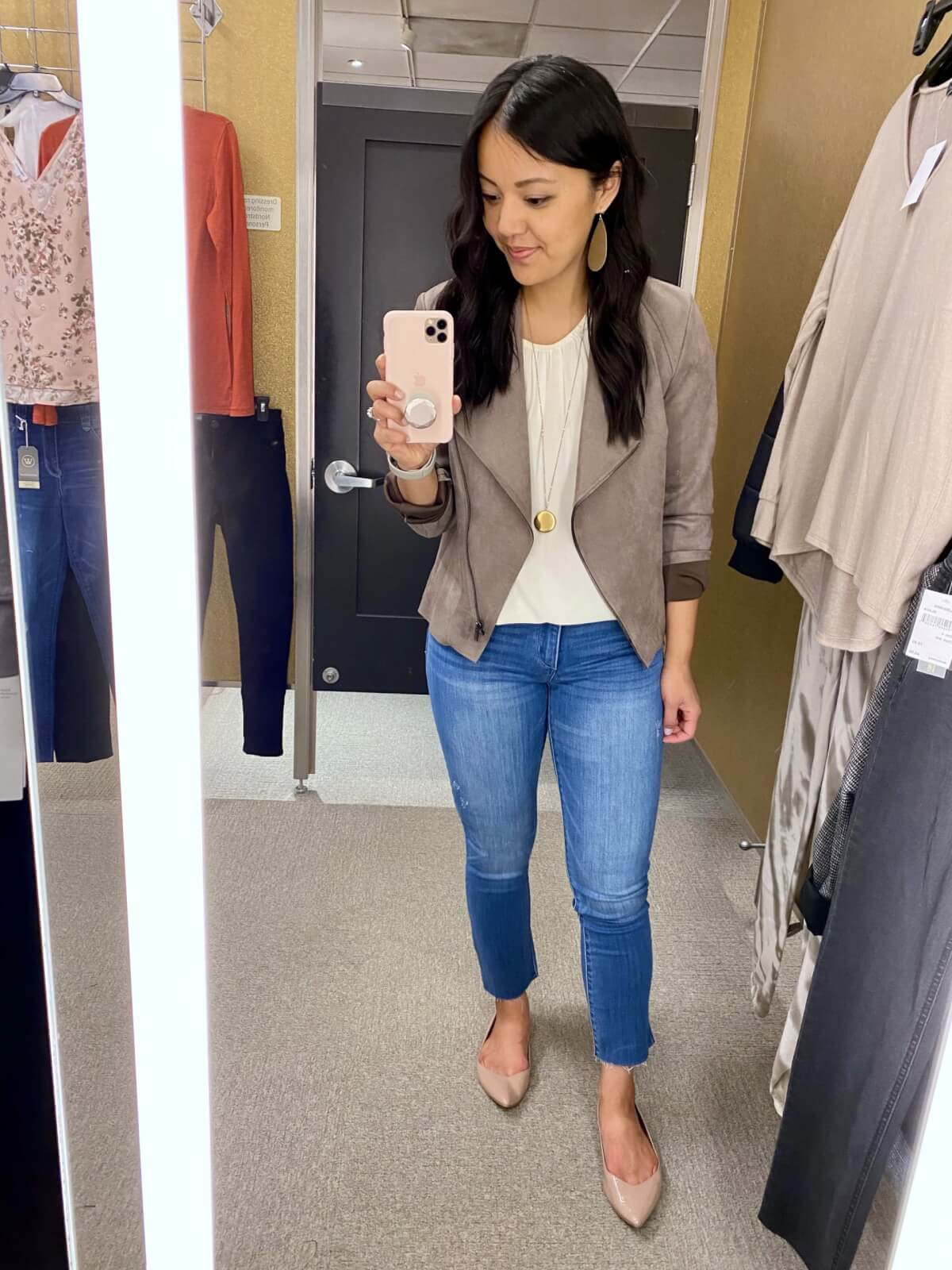 kut from the kloth suede moto jacket taupe + white top + Wit & Wisdom jeans + nude flats + gold earrings + pendant necklace