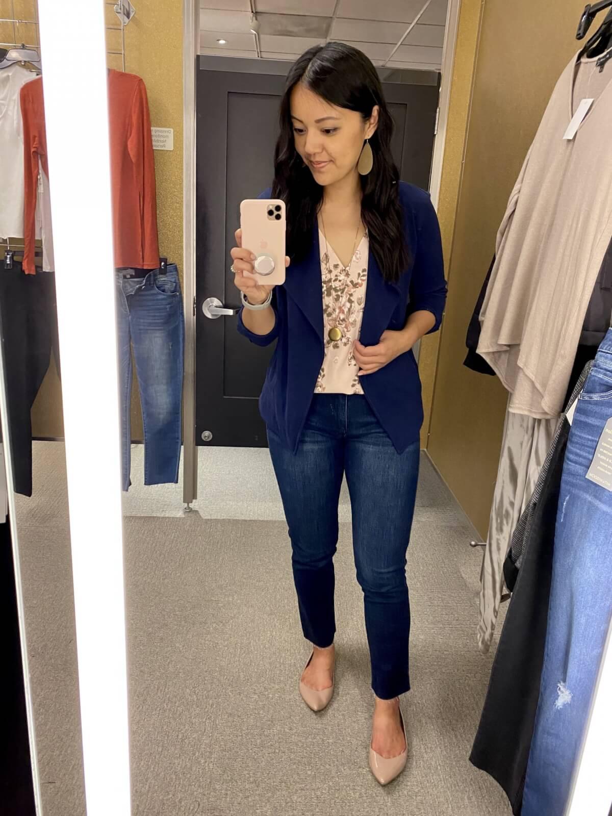 pink beige floral tank blouse + blue knit blazer + straight leg jeans + gold earrings + nude flats + gold pendant necklace