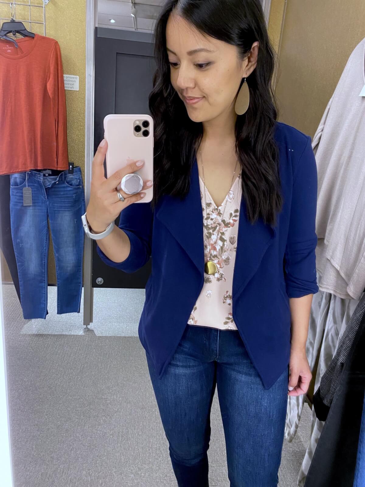 pink beige floral tank blouse + blue knit blazer + straight leg jeans + gold earrings + gold pendant necklace