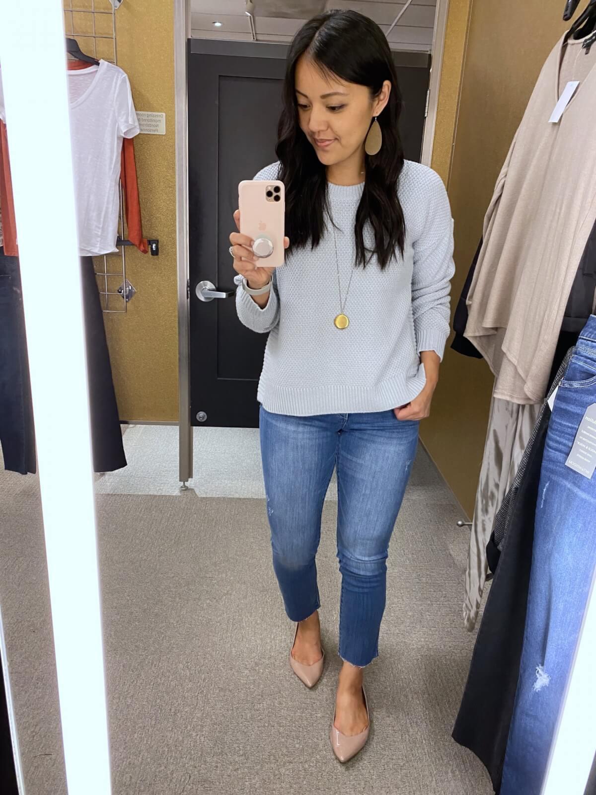 light blue sweater + light denim jeans + gold earrings + nude flats + gold pendant necklace