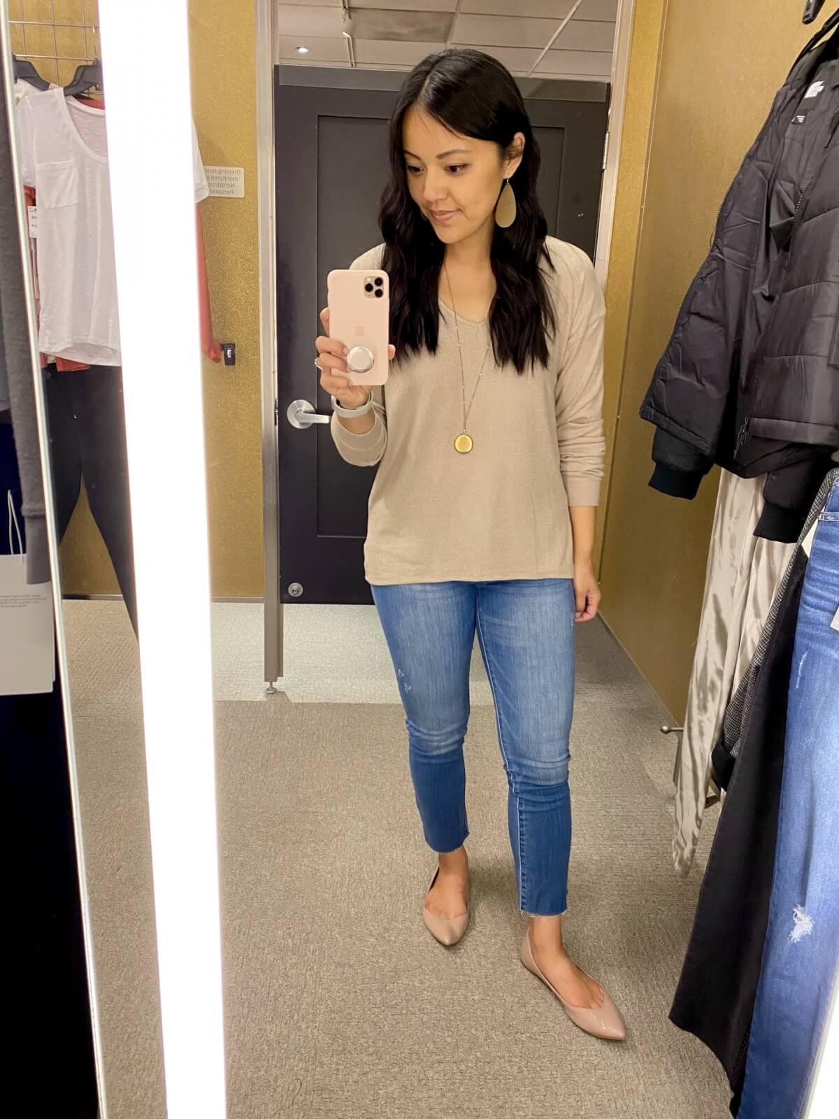 Gibsonlook beige sweater + light denim jeans + gold earrings + gold pendant necklace + nude flats
