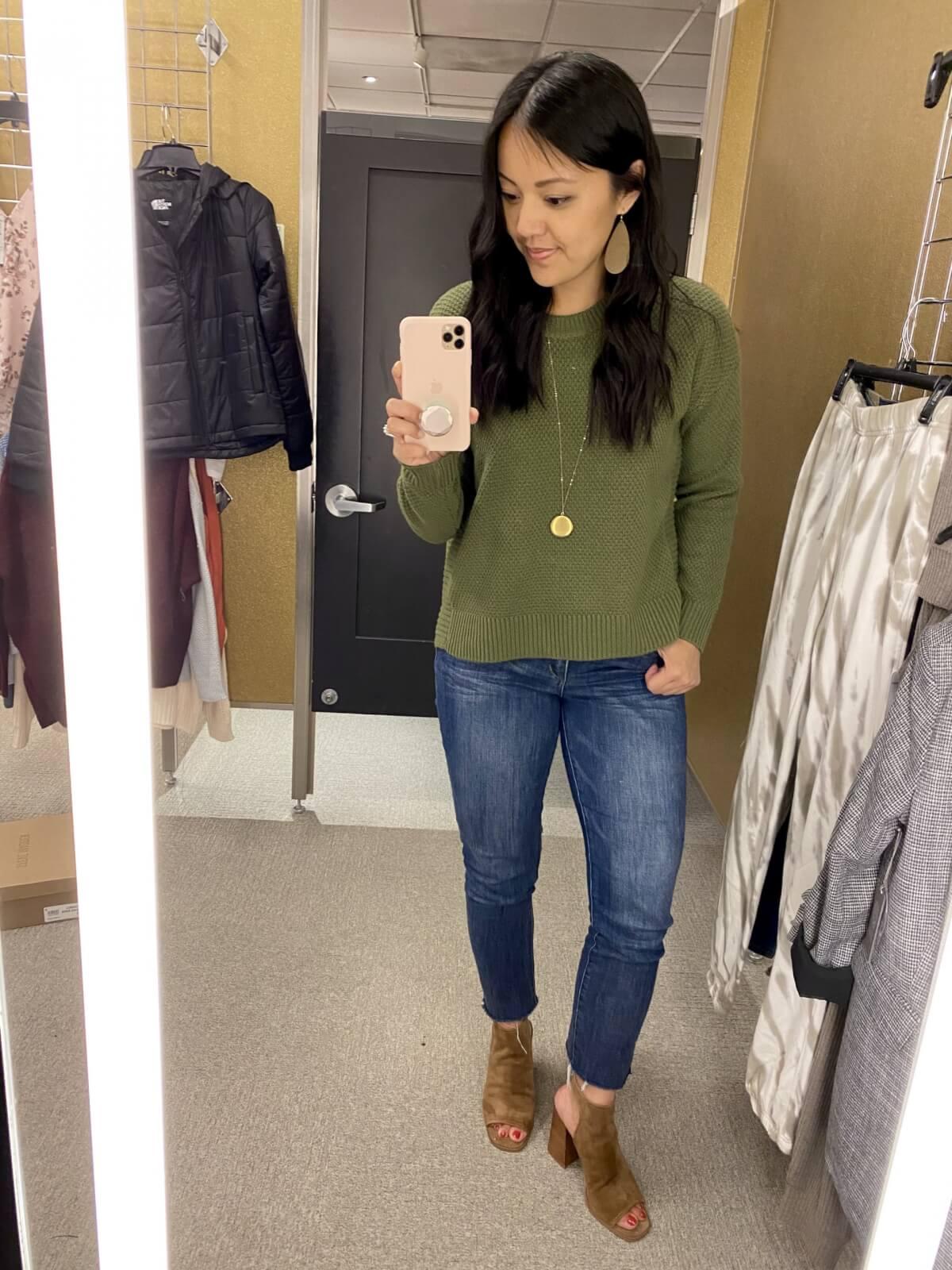 green sweater + light denim jeans + gold earrings + gold pendant necklace + tan peep toe booties