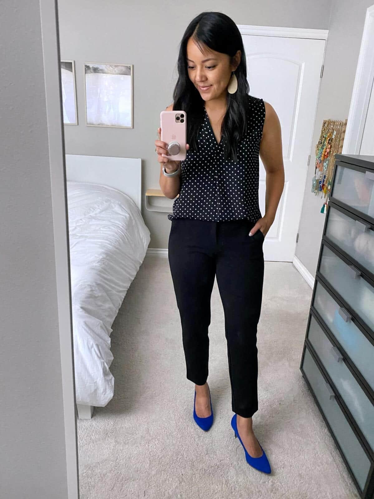 NSale Business Casual Outfit: polka dot tank + black slacks + blue pumps + white earrings