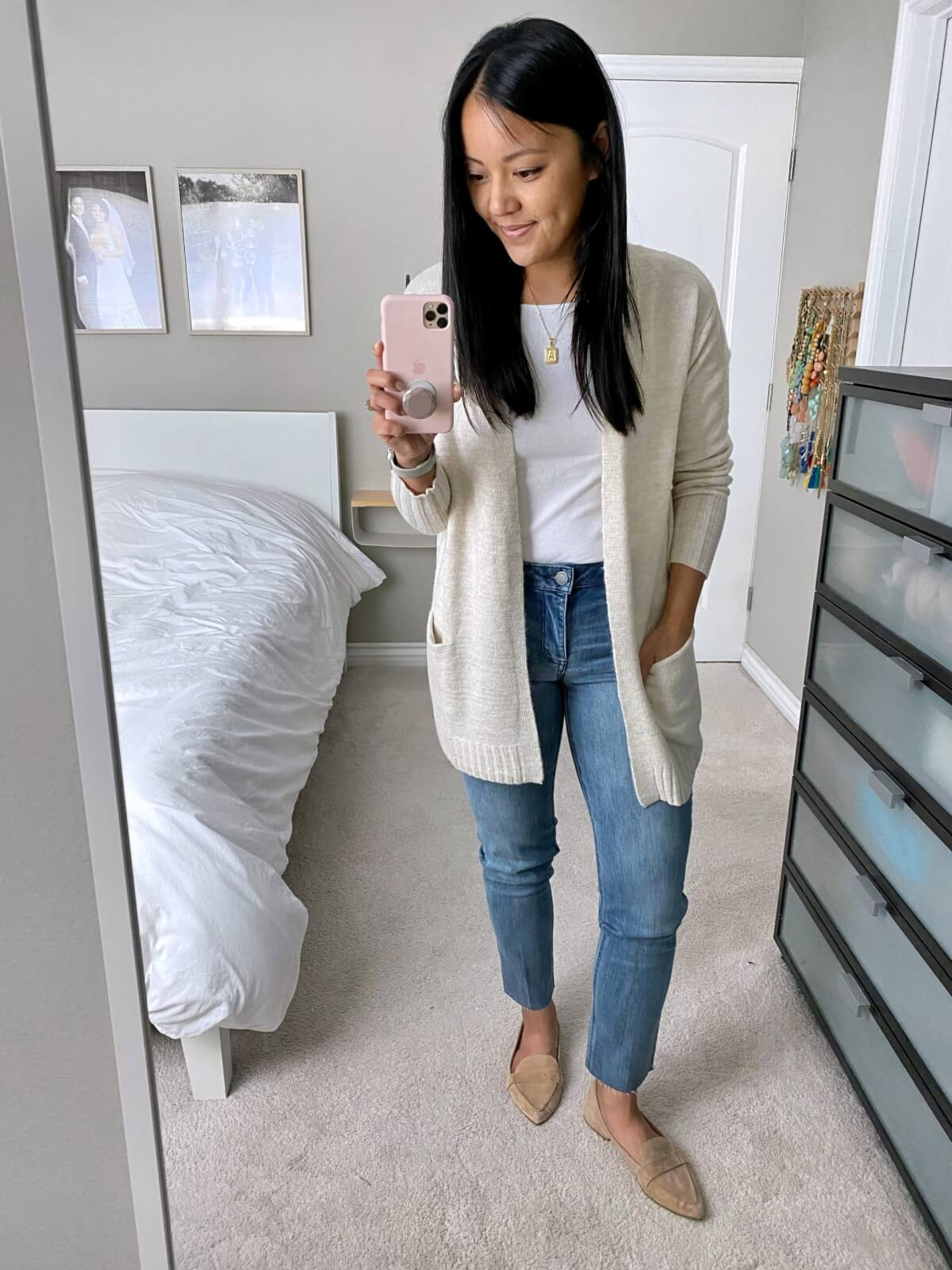 NSale Nicer Casual Outfit: white tee + straight leg jeans + cream long cardigan + nude suede loafers + gold initial pendant necklace