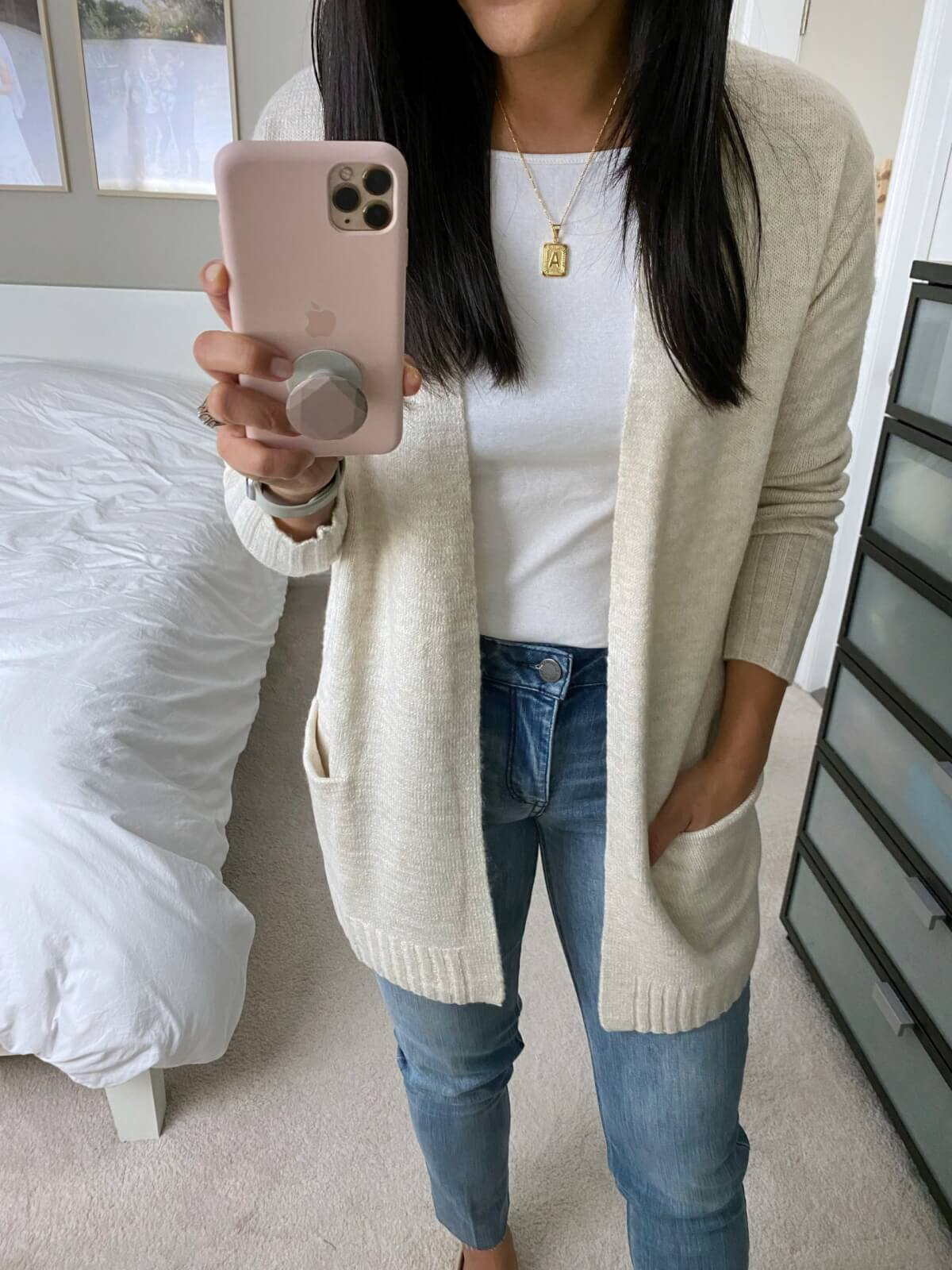 NSale Nicer Casual Outfit: white tee + straight leg jeans + cream long cardigan + gold initial pendant necklace
