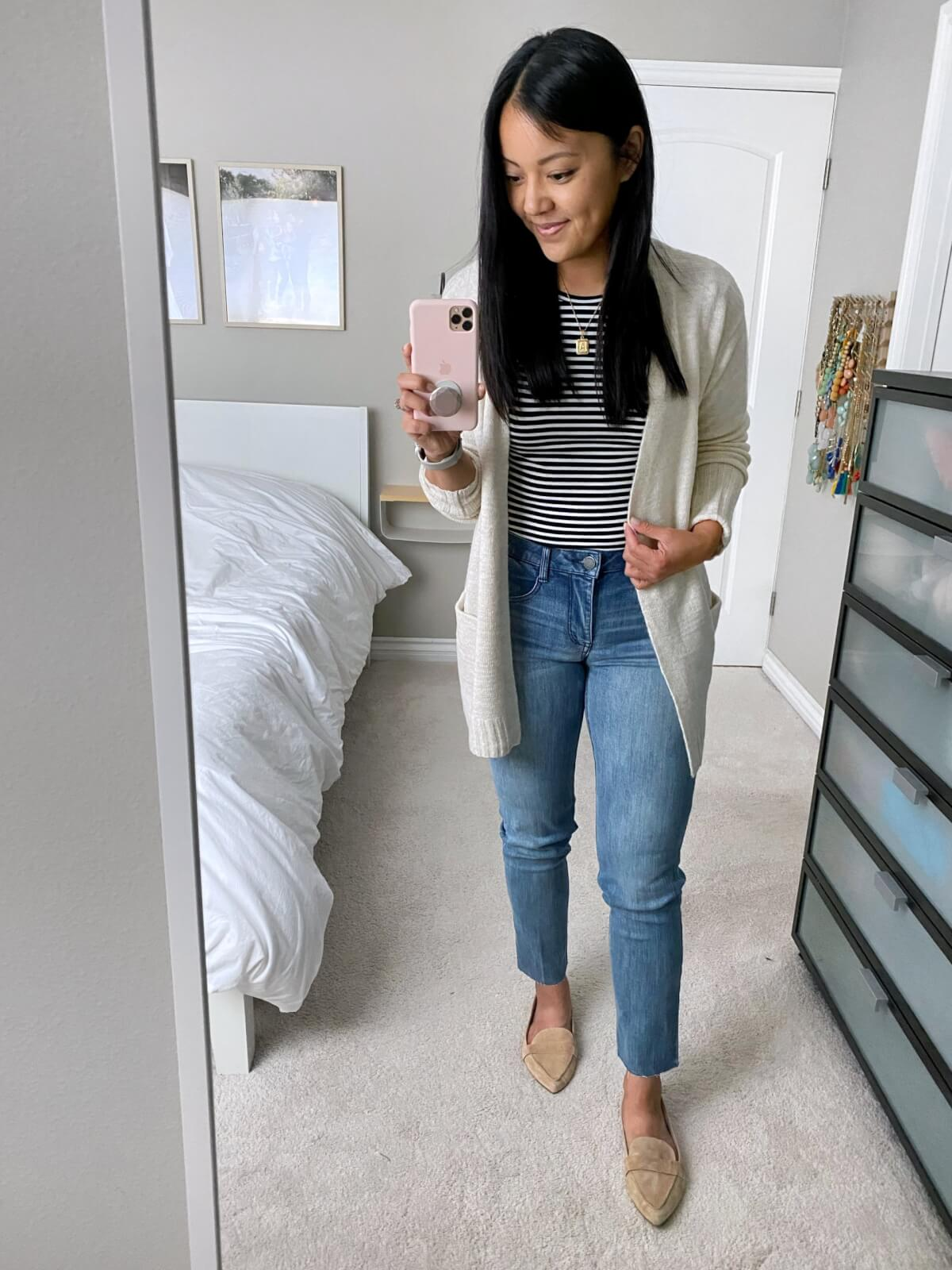 NSale Nicer Casual Outfit: black and white striped tee + straight leg jeans + cream long cardigan + gold initial pendant necklace + nude suede loafers