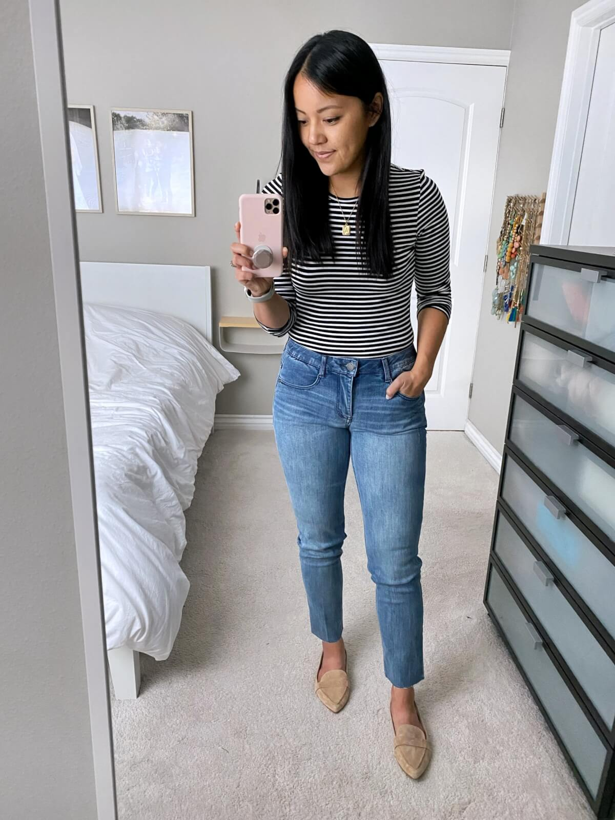 NSale Nicer Casual Outfit: Halogen modal black and white striped tee + Wit & Wisdom light denim straight leg jeans + gold initial pendant necklace + nude suede loafers