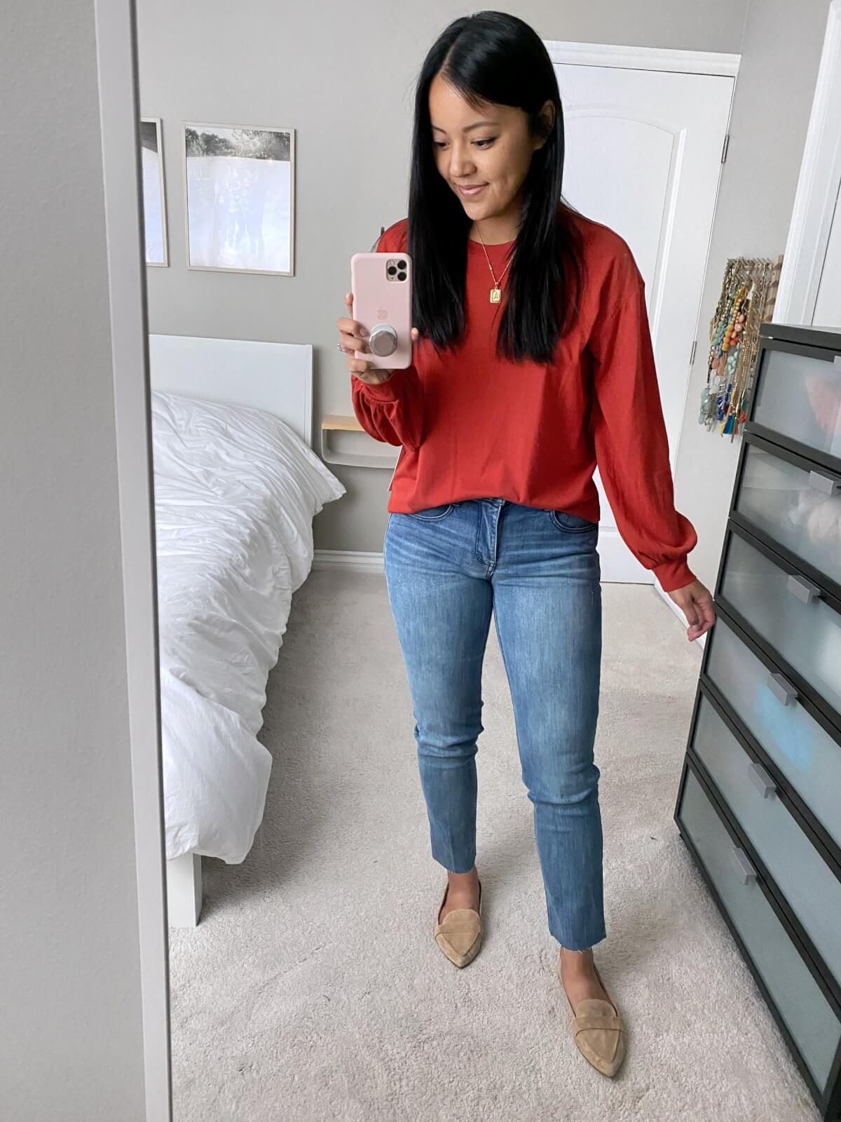 NSale Nicer Casual Outfit: rust puff sleeve top + Wit & Wisdom light denim straight leg jeans + nude suede loafers + gold initial pendant necklace