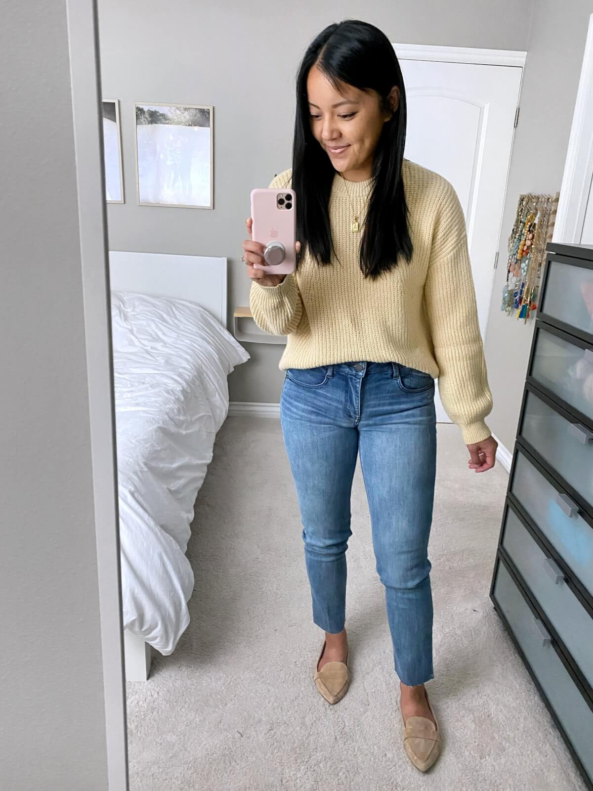 NSale Nicer Casual Outfit: light yellow sweater + Wit & Wisdom light denim straight leg jeans + nude suede loafers + gold initial pendant necklace