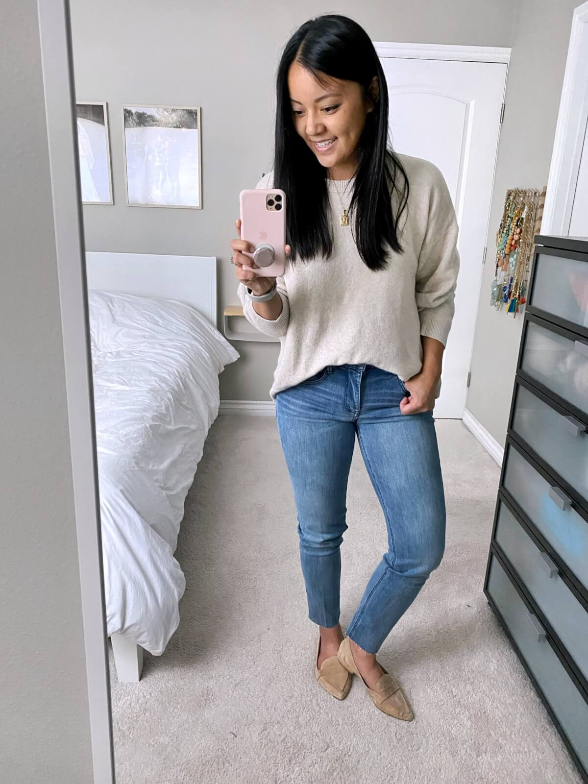 NSale Nicer Casual Outfit: Wit & Wisdom light denim straight leg jeans + beige sweater + gold initial pendant necklace + nude suede loafers