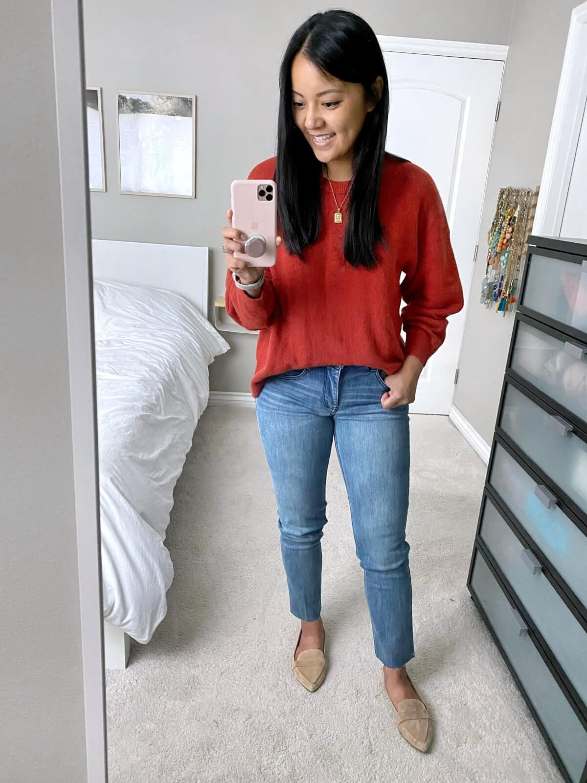 NSale Nicer Casual Outfit: nude suede loafers + Wit & Wisdom light denim straight leg jeans + Treasure & Bond red orange sweater + gold initial pendant necklace