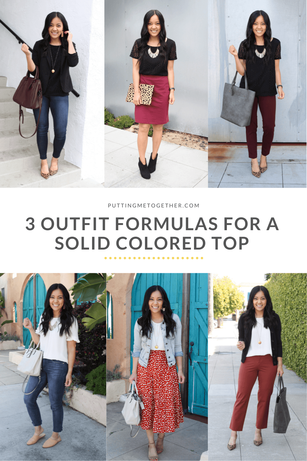 Casual Dressy Work Outfits with solid colored top blouse