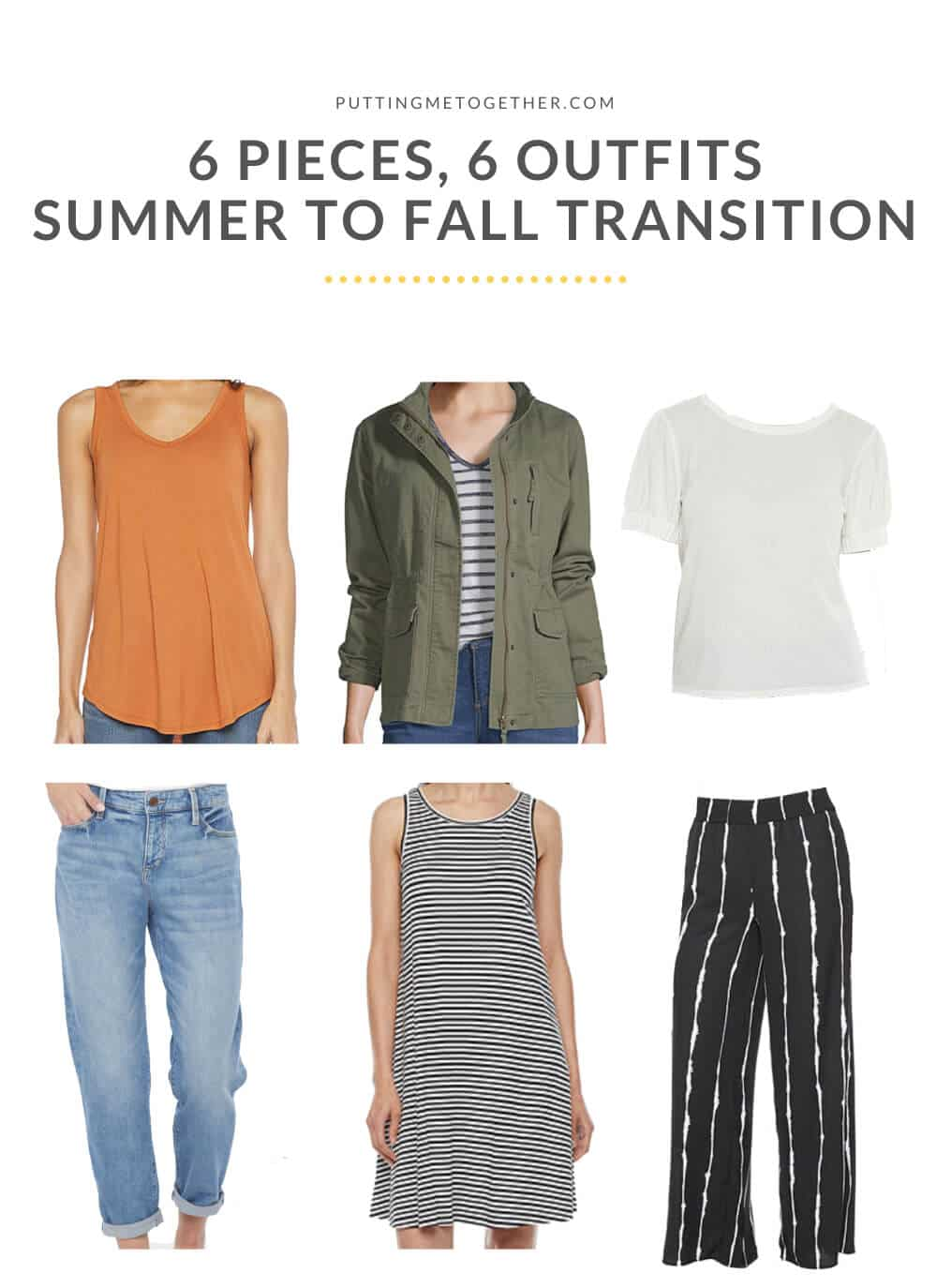 6 Pieces, 6 Outfits Summer to Fall Capsule Wardrobe - The Pieces
