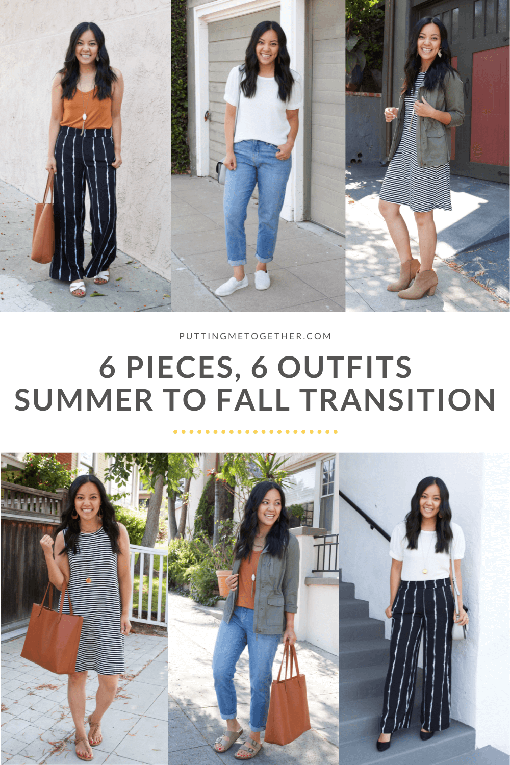 6 Pieces, 6 Outfits Summer to Fall Capsule Wardrobe - Outfits