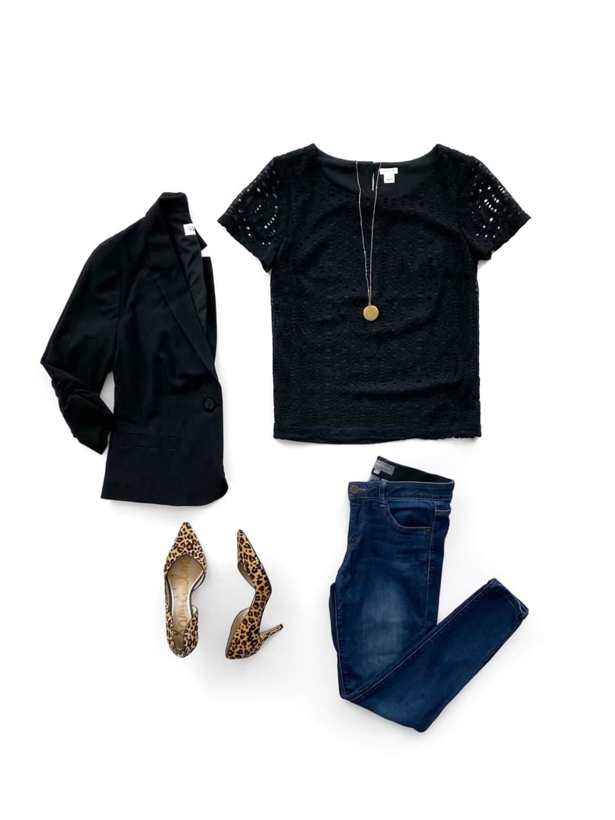 Elevated Casual Outfit flat lay: solid-colored top black + black blazer + blue jeans + leopard heels + gold pendant