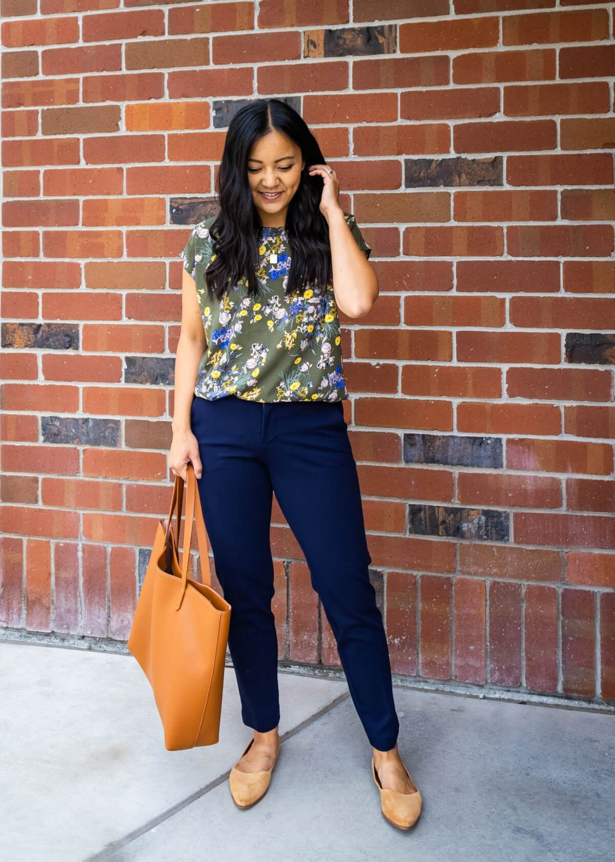 Summer to Fall Nicer Casual Outfit: olive floral short sleeve blouse + navy pants + tan suede flats + gold pendant necklace + tan tote