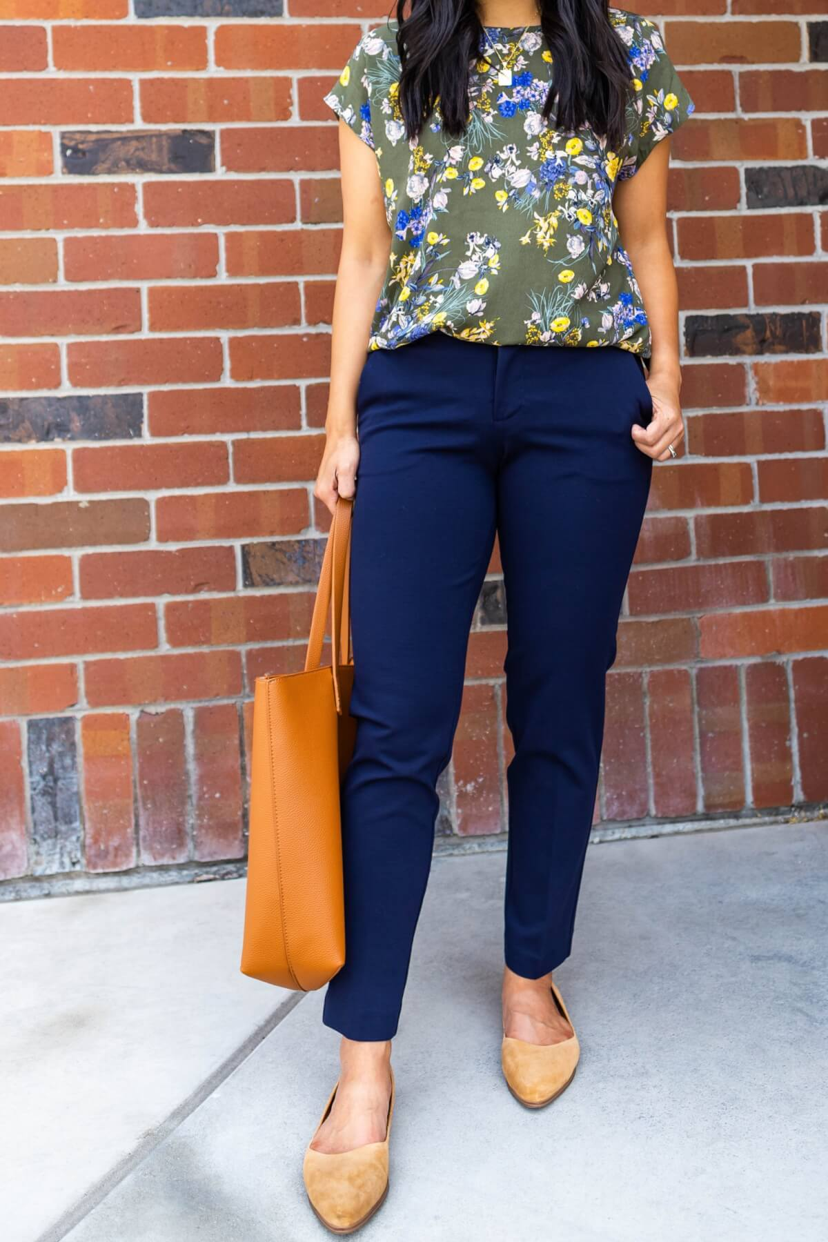 Business Casual Work Outfit for Teachers - Navy Pants + Olive Green Floral Print Top + Tan Flats wearing Liverpool Kelsey Knit Trousers