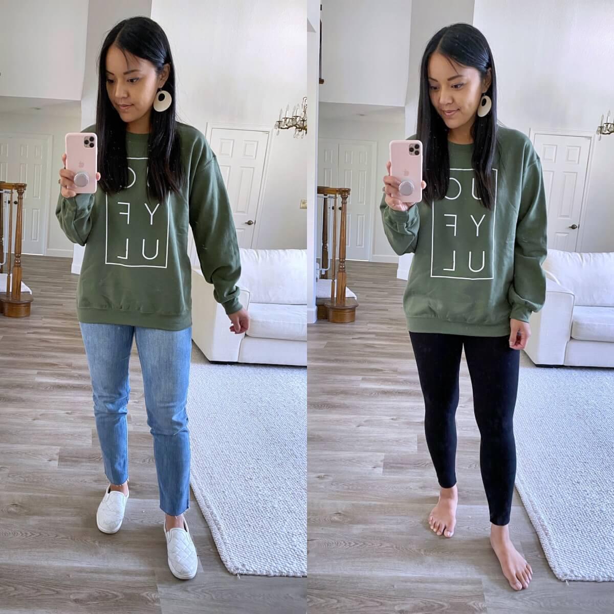 Casual Outfit Early Fall: green joyful sweatshirt + light straight leg jeans + white slip-on sneakers + white earrings + black leggings
