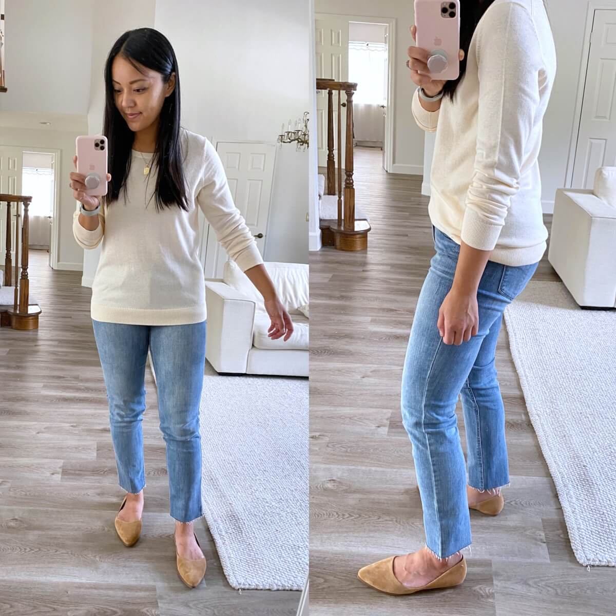Nicer Casual Outfit: cream crewneck sweater + light blue straight leg jeans + tan suede flats + gold pendant necklace