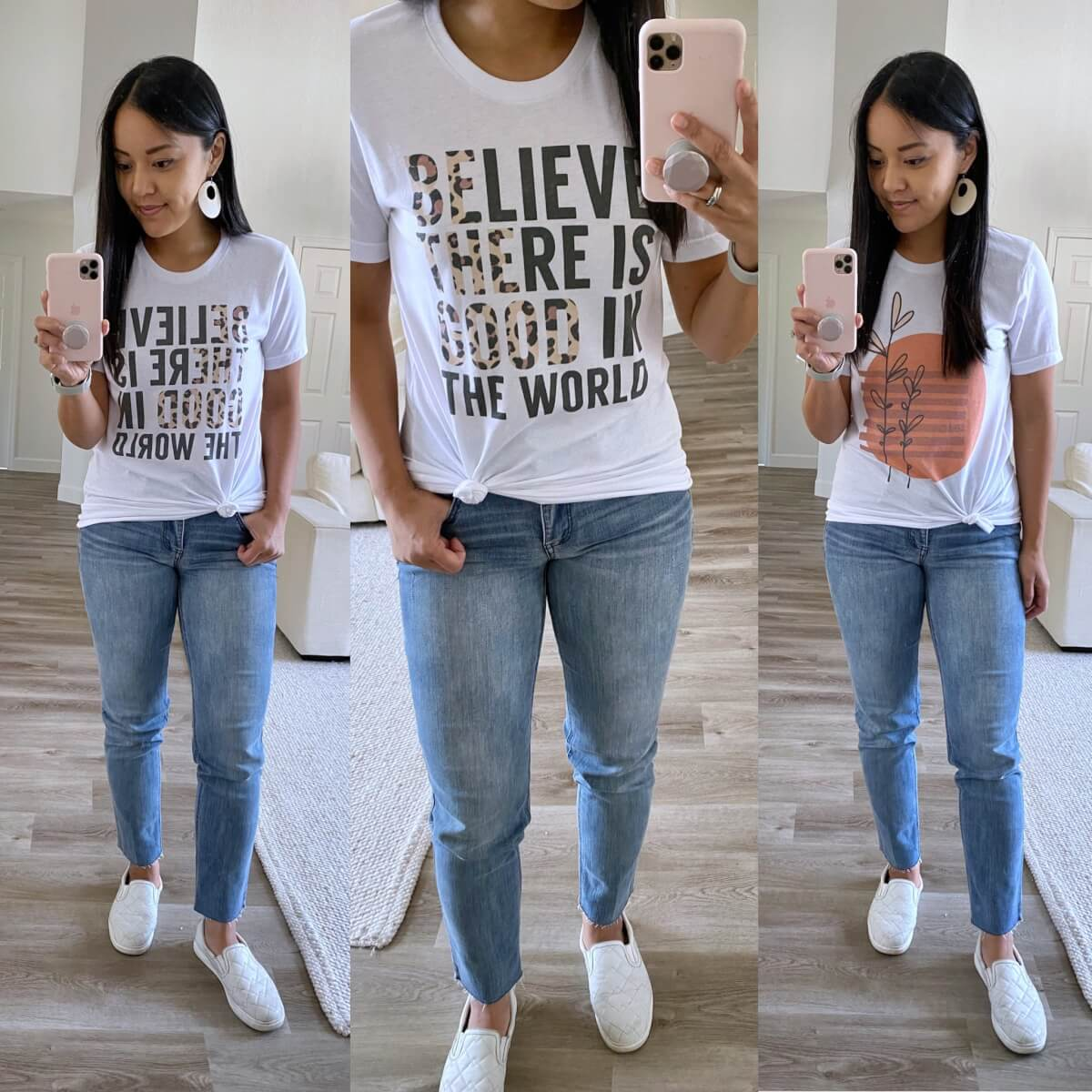 Casual Outfit Early Fall: Believe There Is Good in the World t-shirt + abstract sun plant tshirt + light straight leg jeans + white earrings + white slip-on sneakers