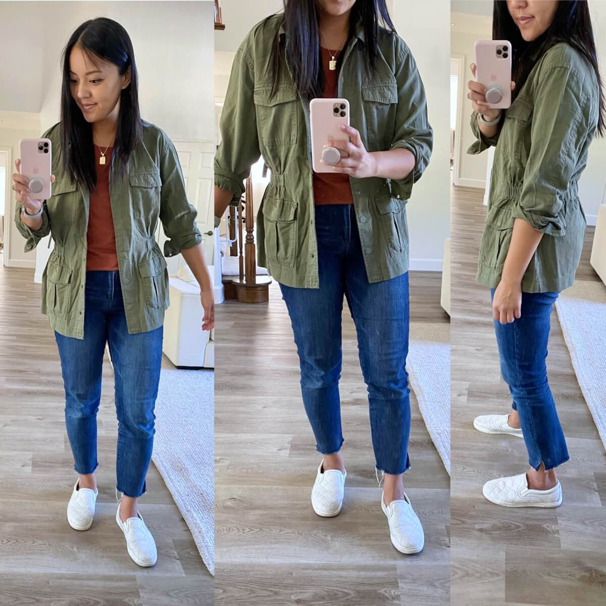 Casual Early Fall Outfit: rust top + blue straight leg raw hem jeans + olive utility jacket + gold pendant necklace + white slip-on sneakers