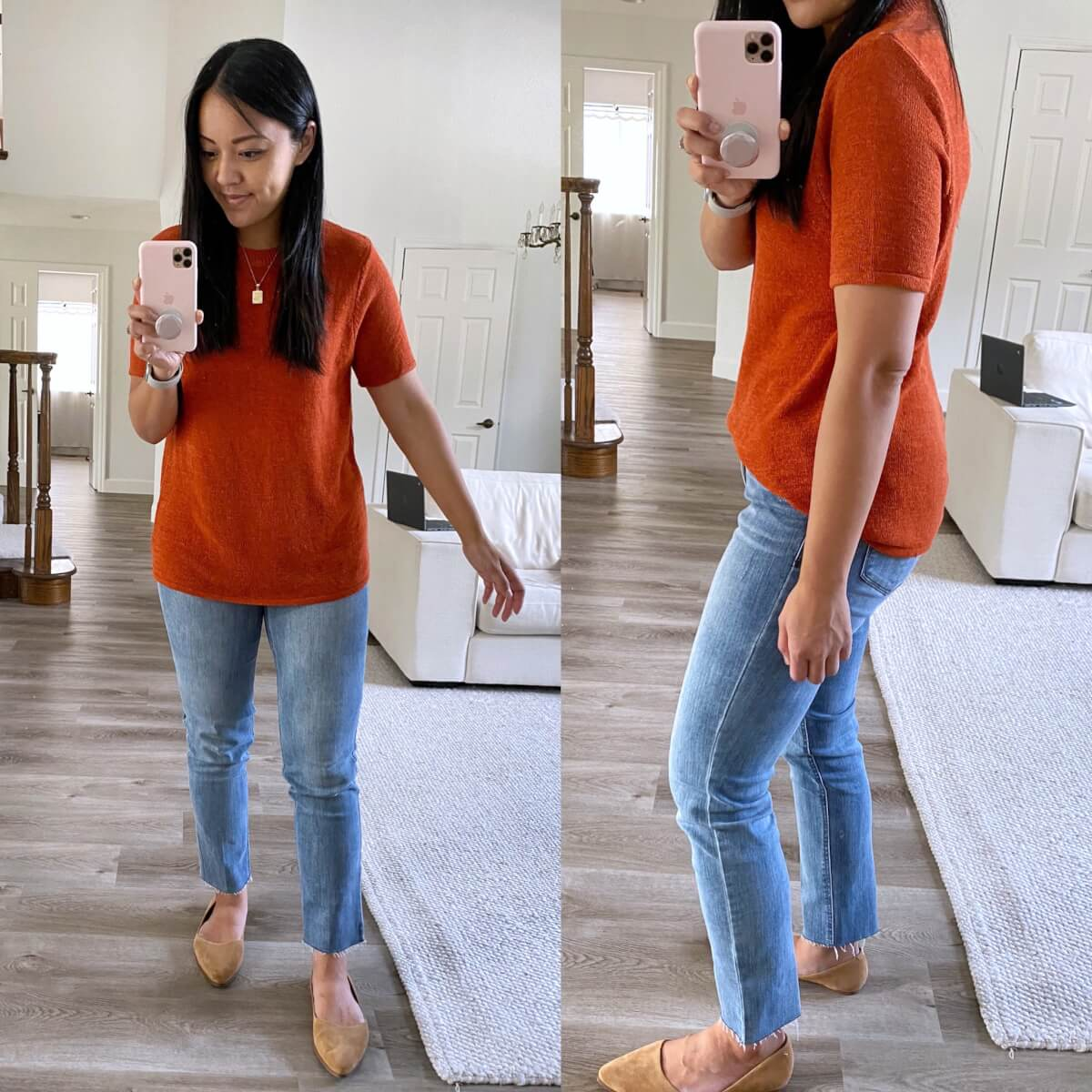 Nicer Casual Outfit early fall: Amazon rust short sleeve sweater + light straight leg raw hem jeans + tan suede flats + gold pendant necklace side