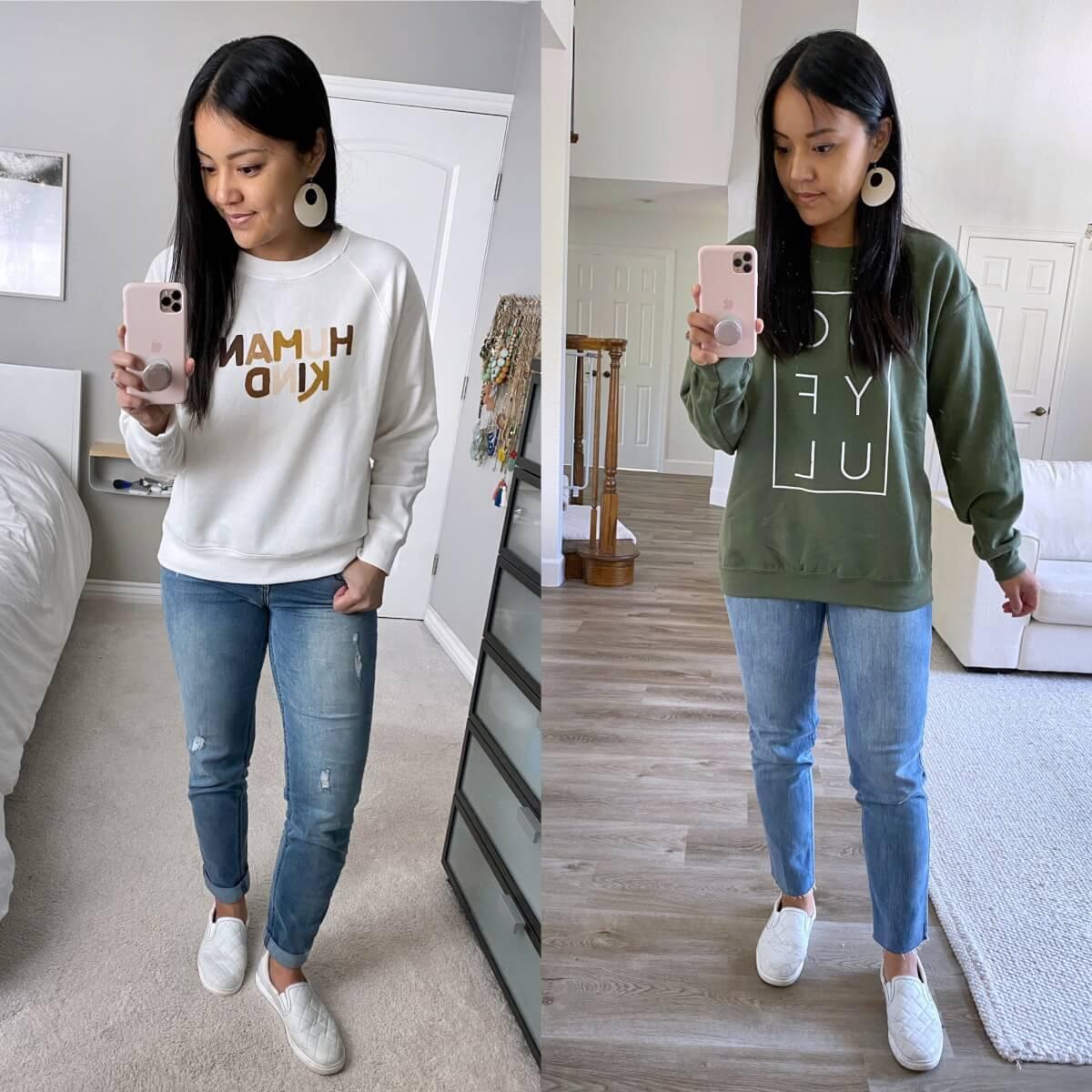Casual Early Fall Outfit: comparison sweatshirt lengths Old Navy Human Kind sweatshirt + green joyful sweatshirt + light blue boyfriend jeans + light straight leg jeans + white earrings + white slip-on sneakers