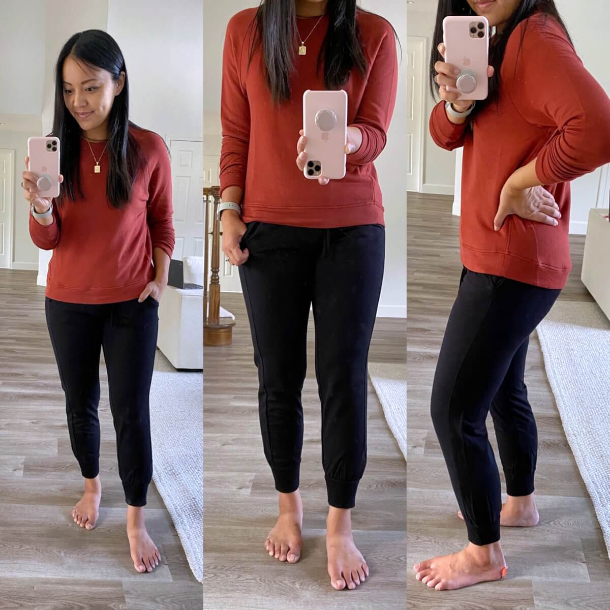 Casual Early Fall Outfit: rust sweatshirt + black joggers + gold pendant necklace