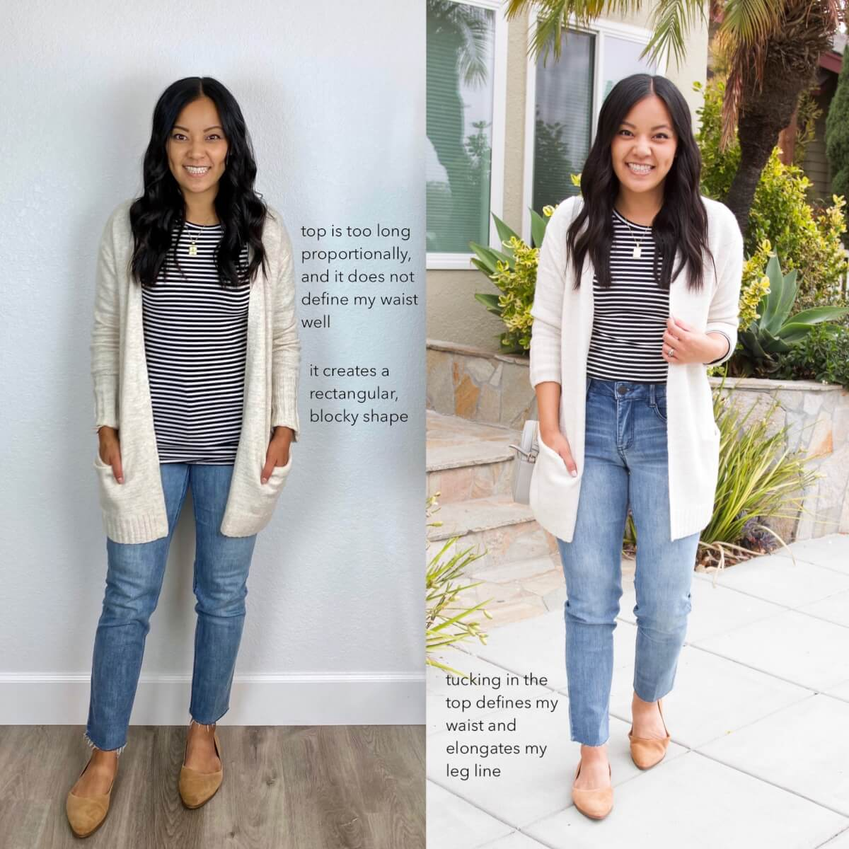 How to Tuck in Shirts with Straight Leg Jeans: black and white long sleeve tee, cream cardigan, light wash straight leg jeans, gold pendant necklace, tan suede flats