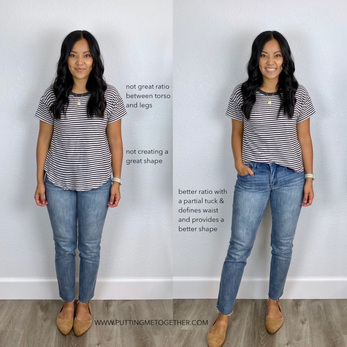 How to Wear a T-shirt with Straight Leg Jeans: black and white striped tee, light wash straight leg jeans, gold pendant necklace, tan flats