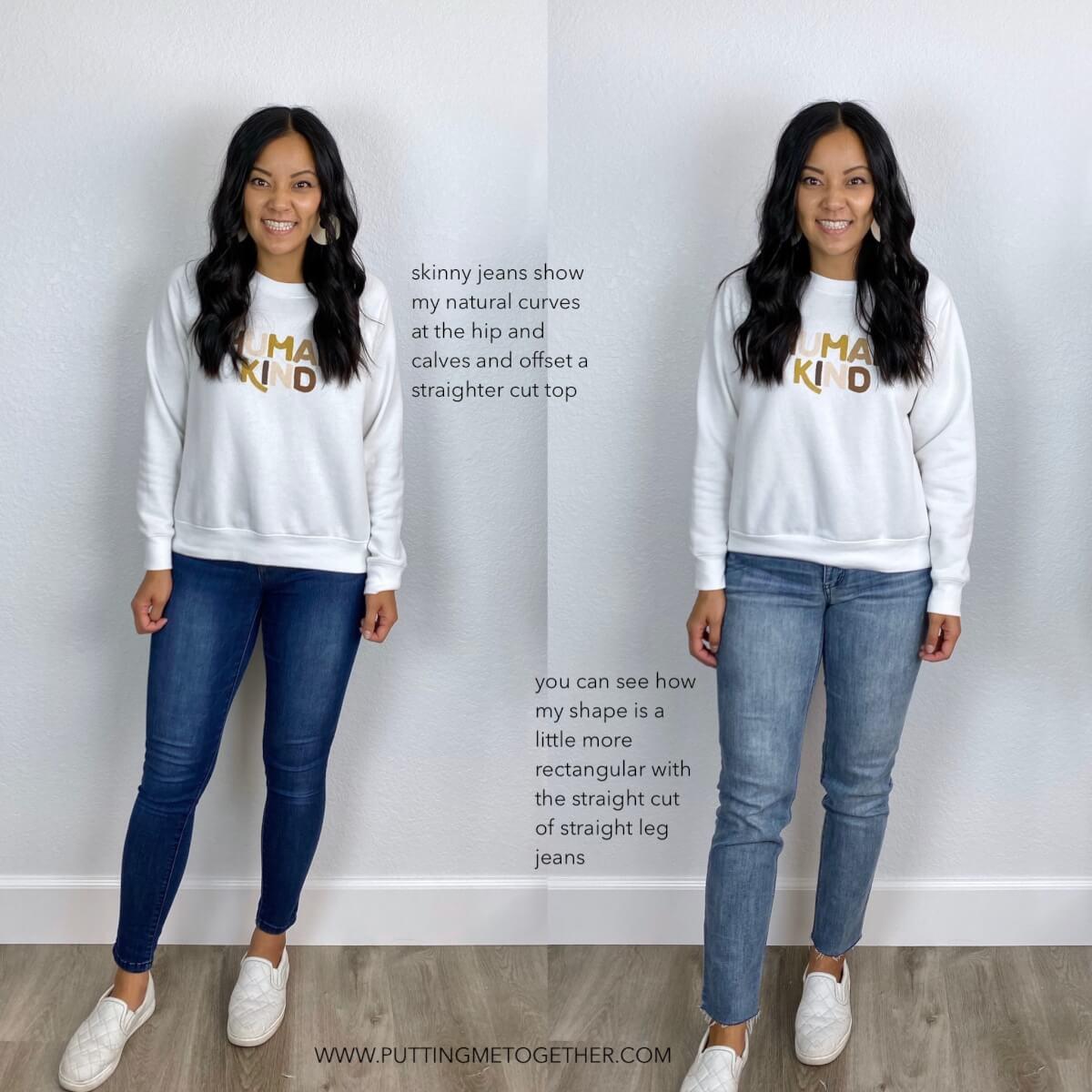Skinny Jeans vs. Straight Leg Jeans: white sweatshirt, medium blue skinny jeans, light wash straight leg jeans, white slip-on sneakers, white earrings