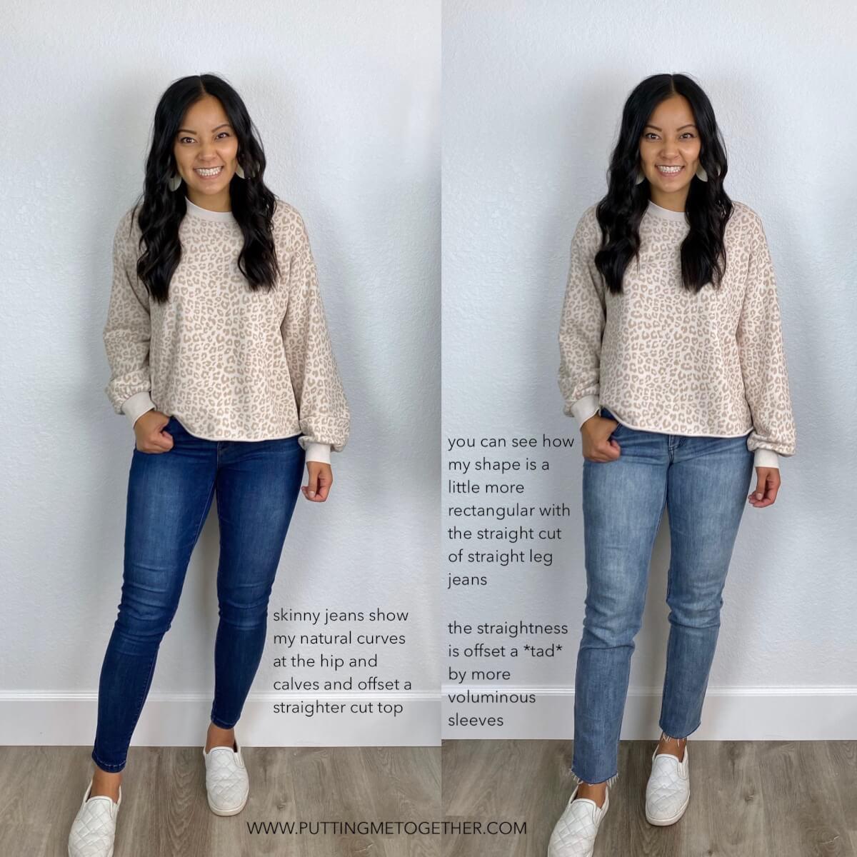 Skinny Jeans vs. Straight Leg Jeans: pale pink leopard sweatshirt, medium blue skinny jeans, light wash straight leg jeans, white slip-on sneakers, white earrings