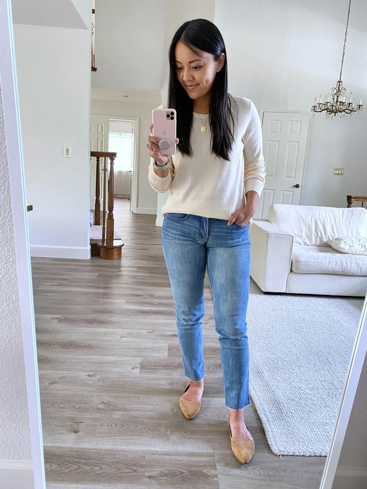Nicer Casual Outfit: Amazon cream crewneck sweater + light blue straight leg denim + tan suede flats + gold pendant necklace