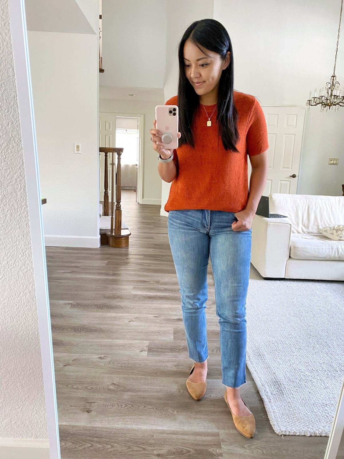 Nicer Casual Outfit early fall: Amazon rust short sleeve sweater + wit & wisdom light straight leg jeans + tan suede flats + gold pendant necklace
