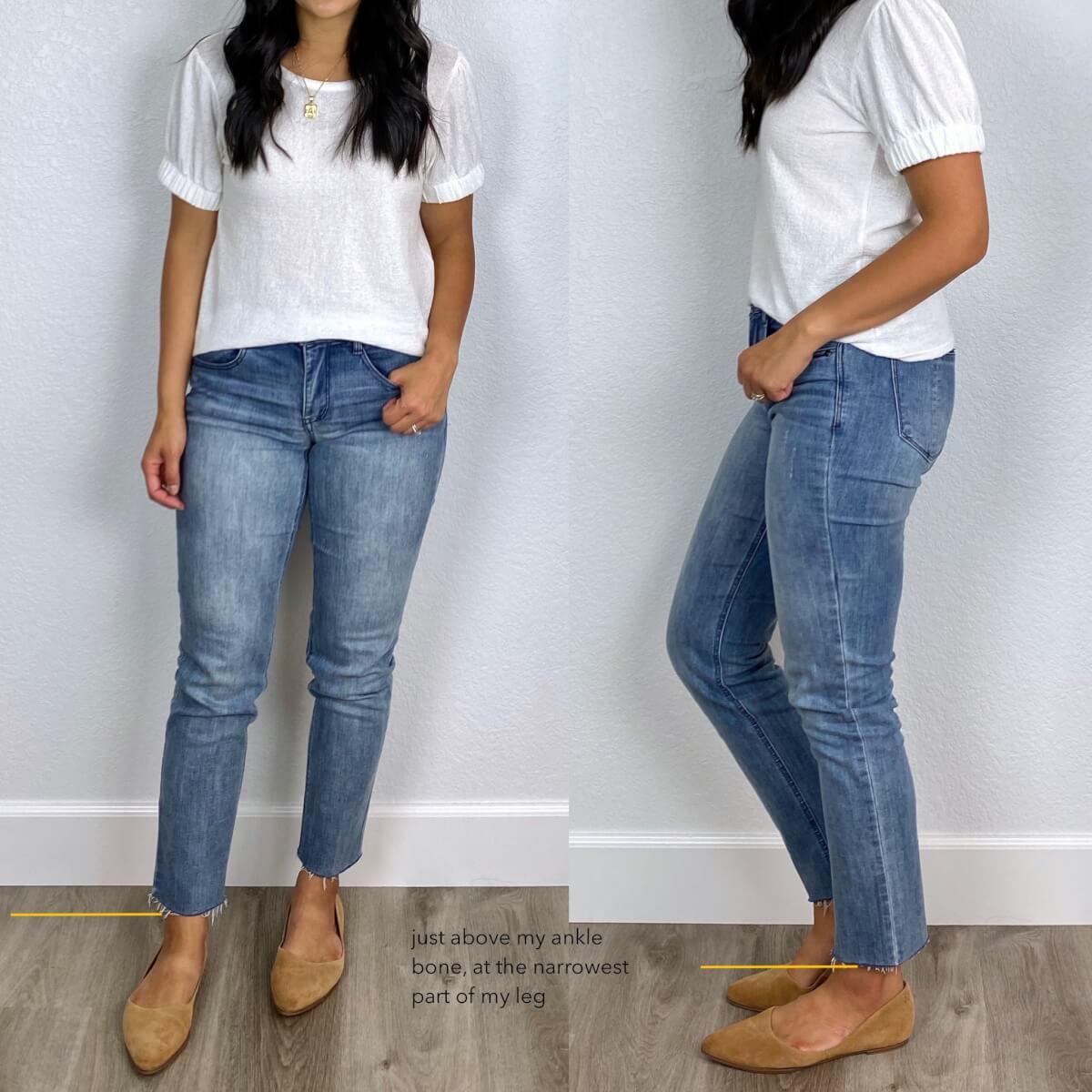 Right length straight leg jeans: raw hem straight leg jeans, white top, tan suede flats