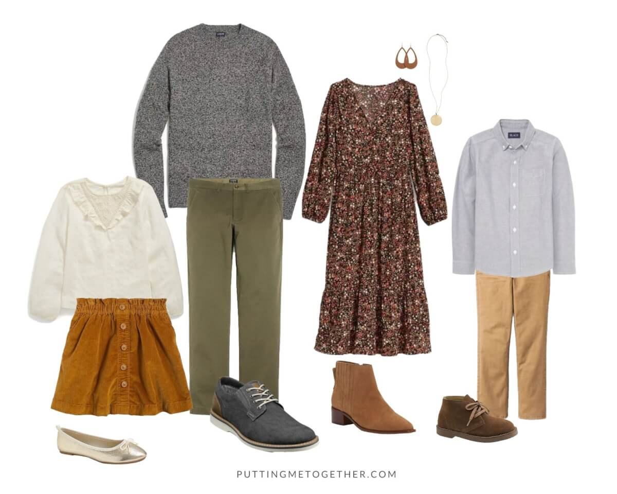 What to Wear Family Photos Fall: floral long sleeve dress, booties, dark gray sweater, olive pants, cream top, tan corduroy skirt, gray button up shirt, khakis
