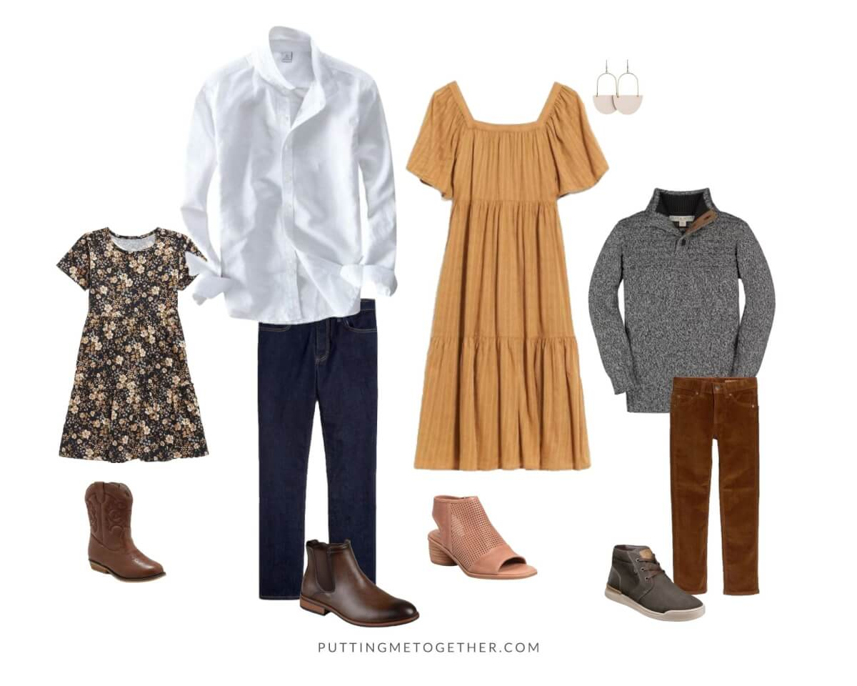 Family Photos Fall Outfits romantic boho: mustard dress, white button down shirt, jeans, floral dress, boots, cords, gray sweater