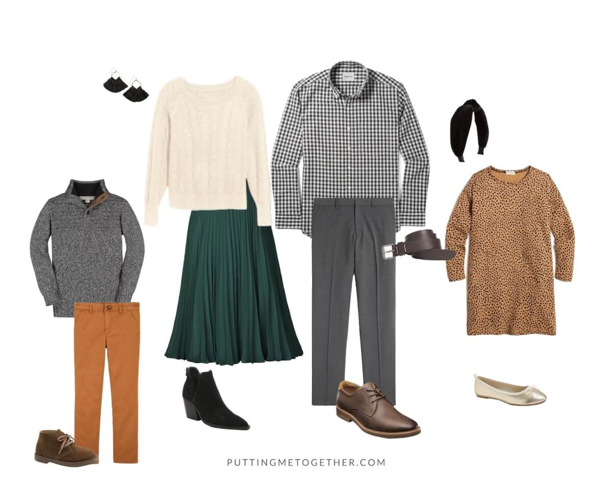 Family Photos Fall Outfits classic dressy: cream sweater, green pleated skirt, black booties, black tassel earrings, black and white gingham shirt, gray slacks, brown shoes, gray sweater, tan khakis, leopard dress, gold flats