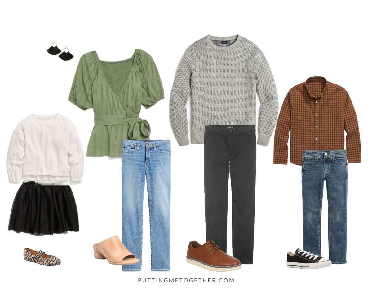 Family Photos Fall Outfits dressy casual stylish: sage green puff sleeve wrap top, light wash straight leg jeans, light tan mules, black tassel earrings, gray sweater, dark gray pants, brown gingham shirt, blue jeans, white sweater, black tutu, leopard flats
