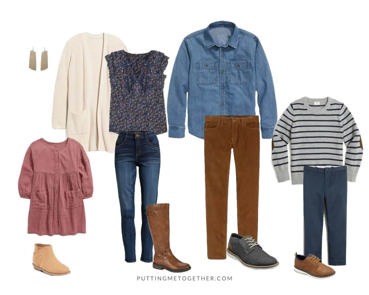 Family Photos Fall Outfits nicer casual: blue floral top, cream cardigan, blue skinny jeans, tall riding boots, gold earrings, chambray shirt, tan cords, gray shoes, pink dress, fringe suede booties, gray and navy striped sweater, blue pants, tan shoes